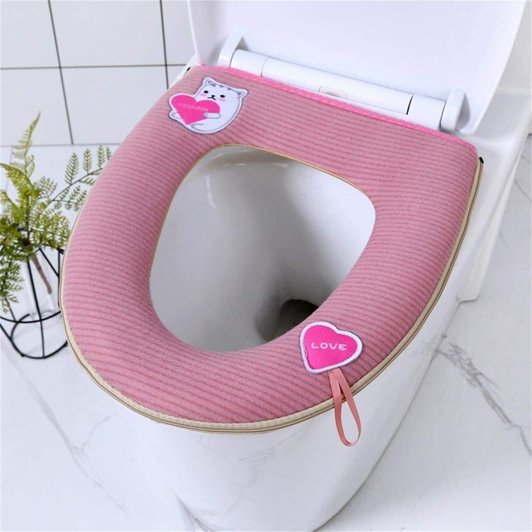 Mavere Home Soft Waterproof Zipper Toilet Seat Cover Pads Mat Bathroom Accessories Toilet Lid /& Tank Covers