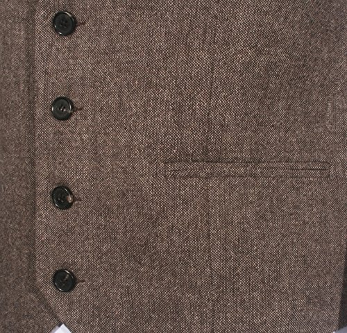 Ruth&Boaz3Pockets4ButtonsWoolHerringbone/TweedBusiness SuitVest (L, Tweed Brown) by Ruth&Boaz (Image #3)