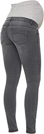MAMALICIOUS Mama Licious damskie dżinsy ciążowe Slim Fit (Mllola Slim Grey Jeans A. Noos), kolor: szary denim , rozmiar: 34W / 32L: Odzież