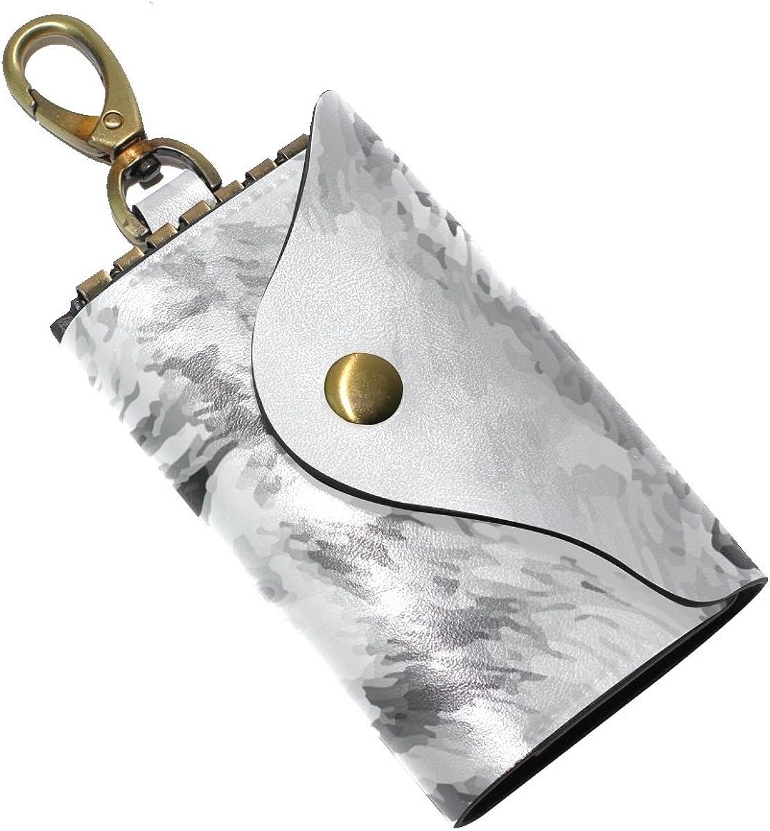KEAKIA Hand Draw Fox Leather Key Case Wallets Tri-fold Key Holder Keychains with 6 Hooks 2 Slot Snap Closure for Men Women