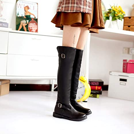 Women Ladies Girl Solid Color Non-Slip Round Toe Long Tube Martin High Boots at Amazon Womens Clothing store: