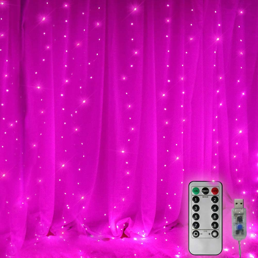 8 Modes Curtain Lights Backdrop Window Lights, 300 LED Copper Wire Timer Dimmable String Lights Starry Twinkle Lights for Christmas, Halloween, Birthday Party Decor-9.8ft x 9.8ft(Pink)