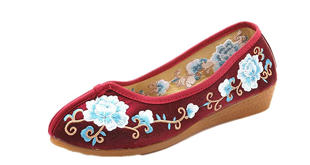 Tianrui Crown Women and Ladies Embroidery Slip-on Loafers Flat Shoe