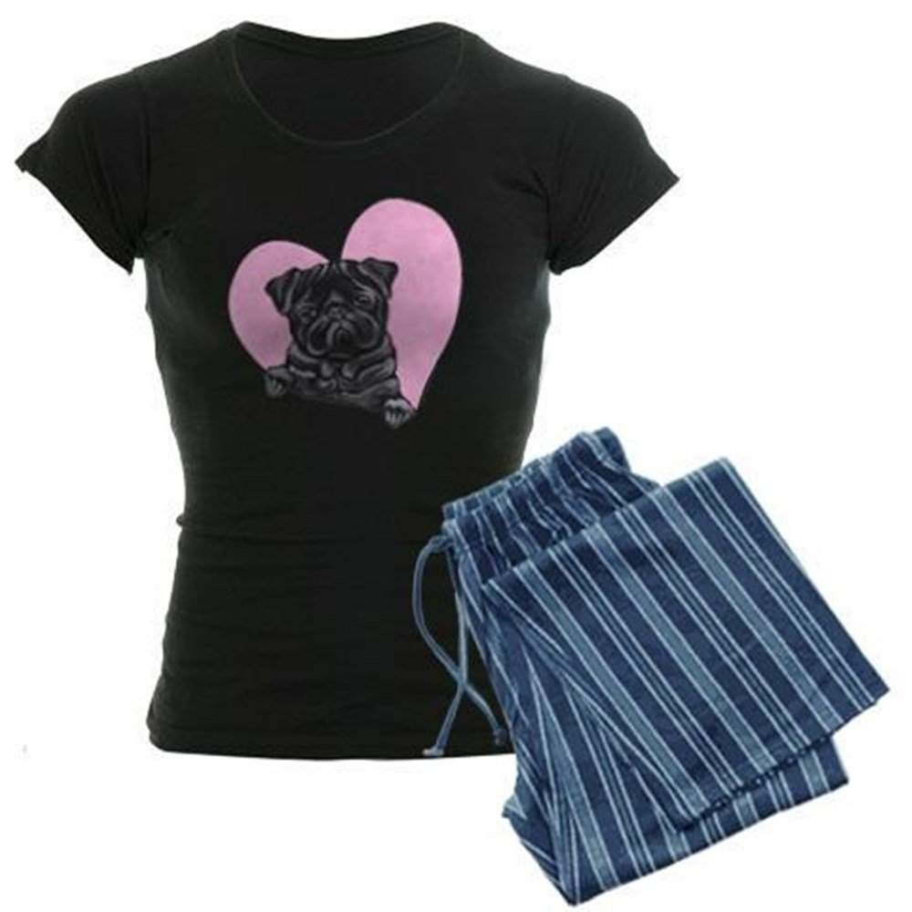 CafePress - Black Pug Pink Heart - Women's Dark Pajamas