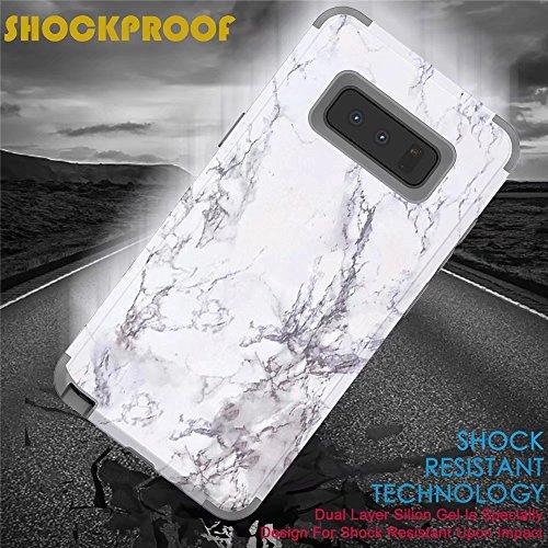 MUTOUREN Samsung Galaxy Note 8 Hülle 2 in 1 Premium Dual Schutzhülle PC+TPU Silikon Full-Cover Anti-Schock Shockproof Anti-Kratz Stoßfänger Case matte Schutzkasten (Grau) Marmor Weiß/DunkelBlau d0H4YFsQHF