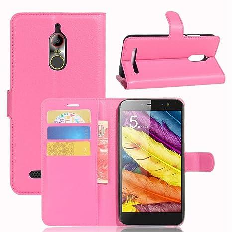 Guran® Funda de Cuero PU Para ZTE Nubia N1 Lite Smartphone Función de Soporte con Ranura para Tarjetas Flip Case Cover Caso-rose red