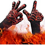 GLIN Heat Resistant Oven Mitts Cooking Gloves-BBQ Grill Gloves- Fireplace Accessories and Welding,Cut Resistant and Forearm Protection with 932°F Heat Resistance-13.5''Long