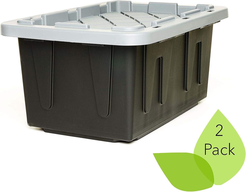ECOstorage Box Tough Recycled Plastic Storage Container, 15 Gallon, Black, 2 Count