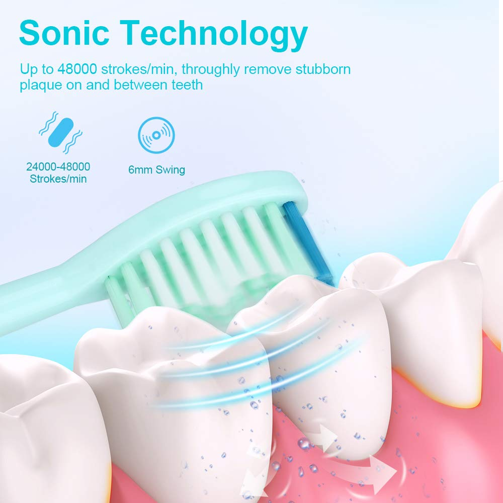 Sonic Toothbrush, IPX8 Waterproof Electric Toothbrush, Low Noise 5Modes 5 Hours Charge for 100Days Use Rechargeable Sonicare with 2 Replacement Heads for Teenager Adult