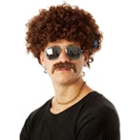 ALLAURA 70's Costume Afro & Moustache Wig Set, Brown Mens Costumes Disco