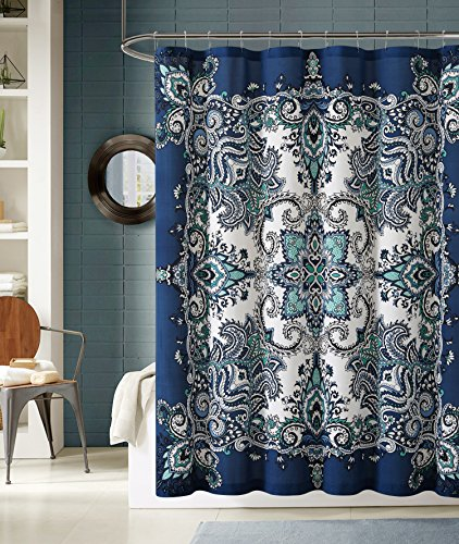 Instabul Shower Curtain Set with 12 Roller Ball Hooks (blue)