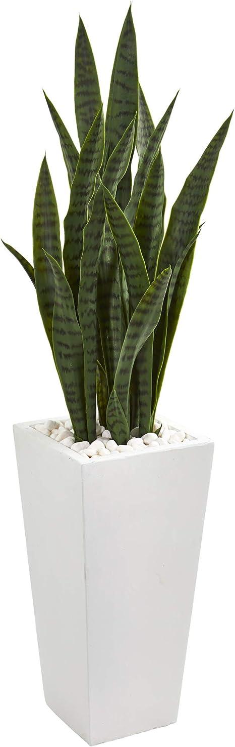 Nearly Natural 4 Sansevieria Artificial White Tower Planter Silk Plants Green Furniture Decor