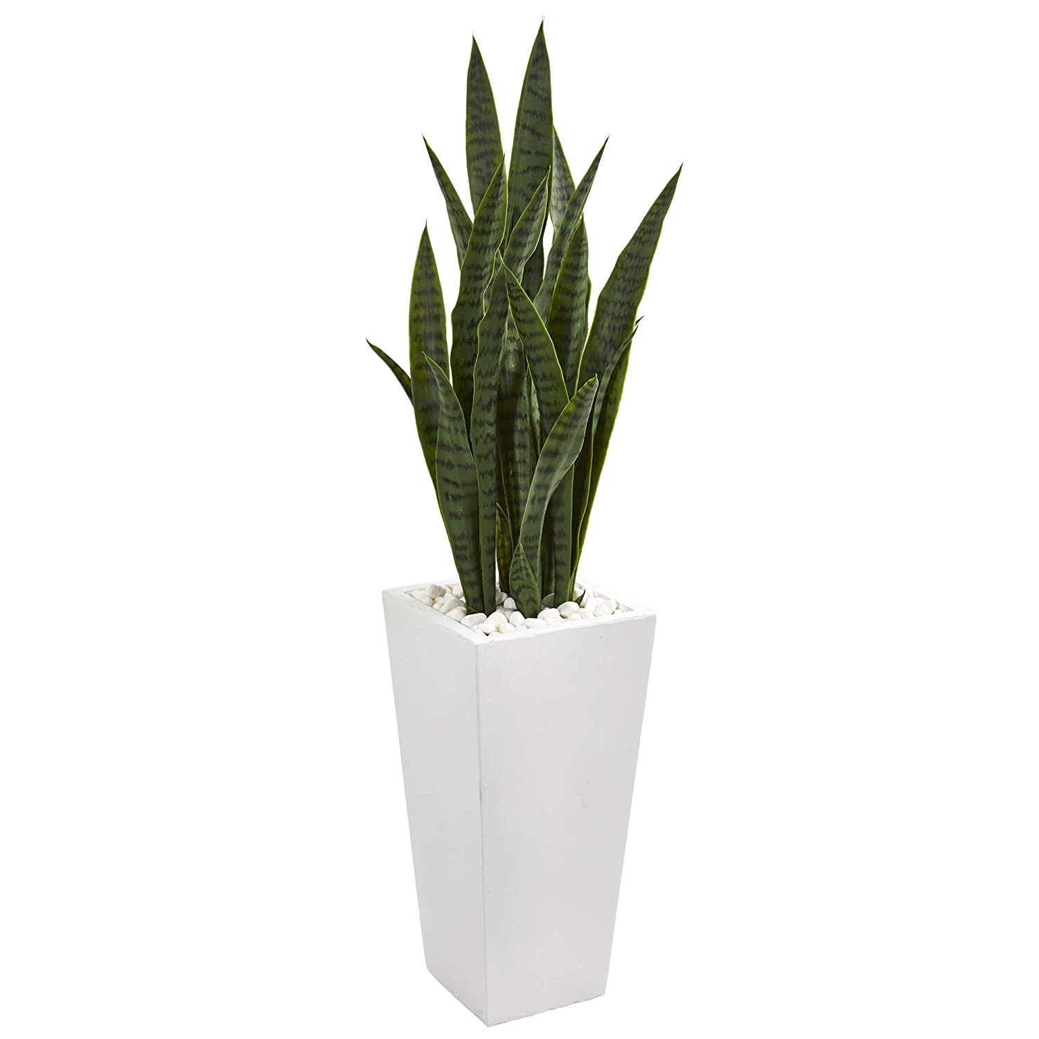 Nearly Natural 9639 4' Sansevieria Artificial White Tower Planter Silk Plants Green
