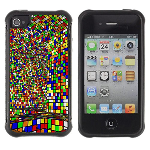 Apple Iphone 4 / 4S - Cube Colorful Game Art Design Interior Layrinth