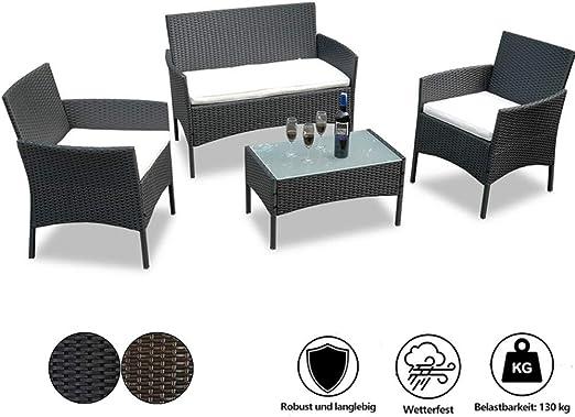 wolketon Conjunto Muebles de Jardin Negro Ratán con Sofá de 2 Plazas, Sillas Individuales, Mesa y Cojín de Asiento, para Terraza al Aire Libre Balcón: Amazon.es: Jardín