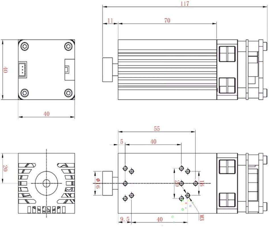 Engraver Accessory DIY Tools Laser Module Head for CNC Machine 3018//3018pro//3018-M 30W 450nm Light Laser Module Head Fixed Focus DIY Carving