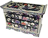 Mother of Pearl Pine Tree & Crane Design Jewelry Box Display with 4 Drawers Nacre Jewellry Case