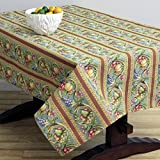 Corona Decor Fruit Design Italian Heavy Weight Tablecloth, 50 by 90-Inch, Turquoise