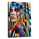 painting a bedroom  Wall Paintings for Bedroom, Colorful Canvas Prints Wall Art, Native American Girl Feathered Women Modern Home Wall Decor Canvas Artworks for Living Room Wall Decor (20x30inx1)