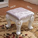 SangreAzul European Style Plastic Leather Stool,Solid Wood American Style Pastoral Luxury Decoration Ornament Durable Easy Storage Living Room Bedroom Home Multifunctional Stool-Q