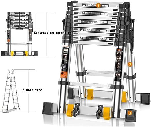 ZR- Escalera Telescópica, Escalera Telescópica Aluminio Portátil, Escalera Escalones, Para Home Loft Office EN131 Certified 330 Lb Capacity -Fácil de almacenar y fácil de llevar: Amazon.es: Hogar