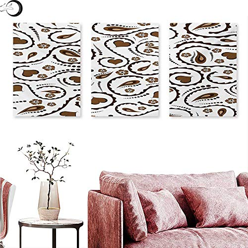 (Mannwarehouse Romantic Living Room Home Office Decorations Heart Swirls Dots Paisley Inspired Design Love Valentines Signs Asian Triptych Art Set Dark Brown and White W 24