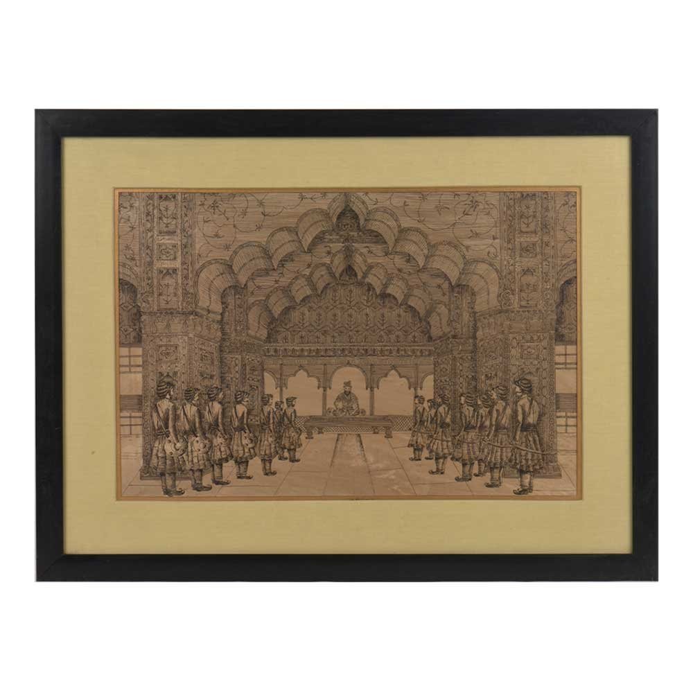IndianShelf Handmade Paper Lithograph of Court Room Scene with the Last Mughal Emperor in Frame Online