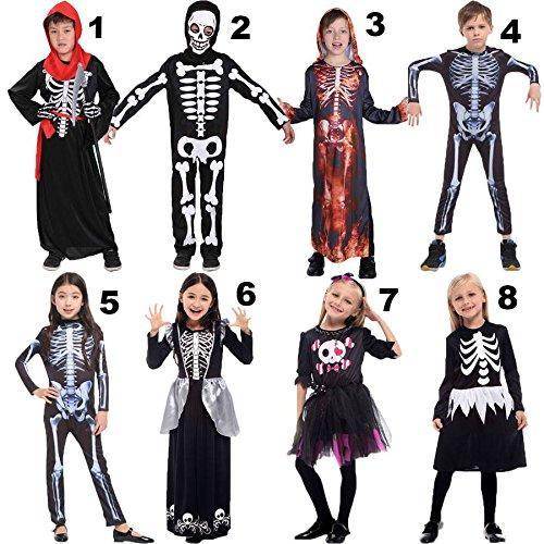 Halloween Children's Day Party Skeleton Costumes Kids Skull Skeleton Monster Demon Ghost Scary Costume Dress Robe for Boys Girls by KathShop