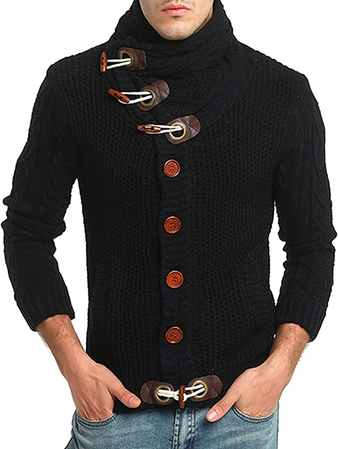 Flygo Mens Casual Cardigan Sweater Turtleneck Cable Knitted Horn Button Sweater