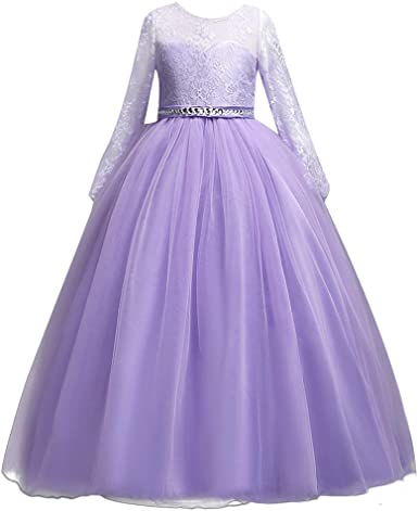 UK Flower Lace Dress Girls Pageant Long Sleeves Gown Birthday Formal Party Maxi