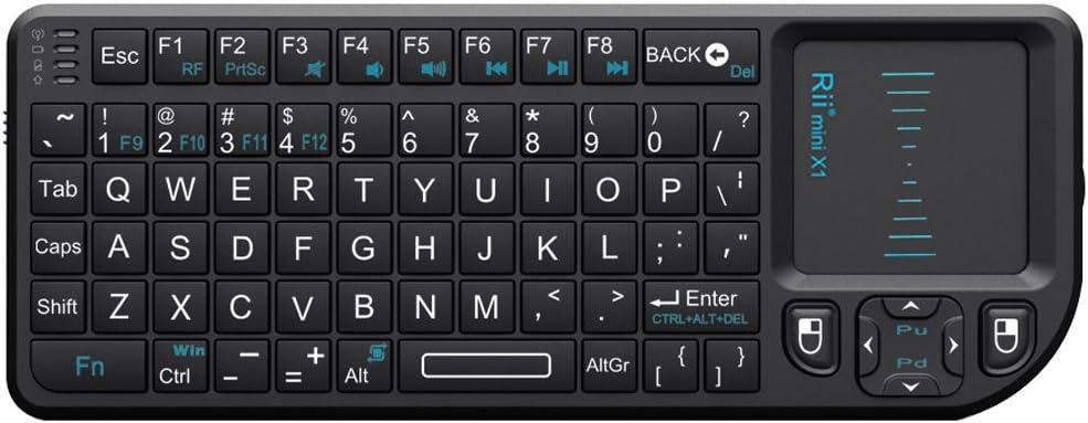 Rii Mini Wireless Keyboard x1 RF Wireless + Bluetooth QWERTY Inglés Negro Teclado – Teclado (RF Wireless + Bluetooth, casa, QWERTY, Inglés, ...