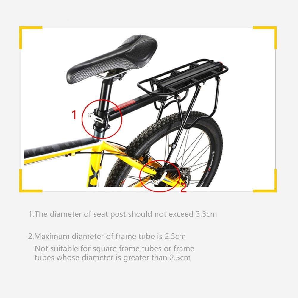 M/áximo 50 kg Portaequipajes del Asiento Trasero de Liberaci/ón R/ápida Delaman Asiento Trasero de la Bicicleta Portaequipajes Ajustable para Bicicleta de Monta/ña con Reflector