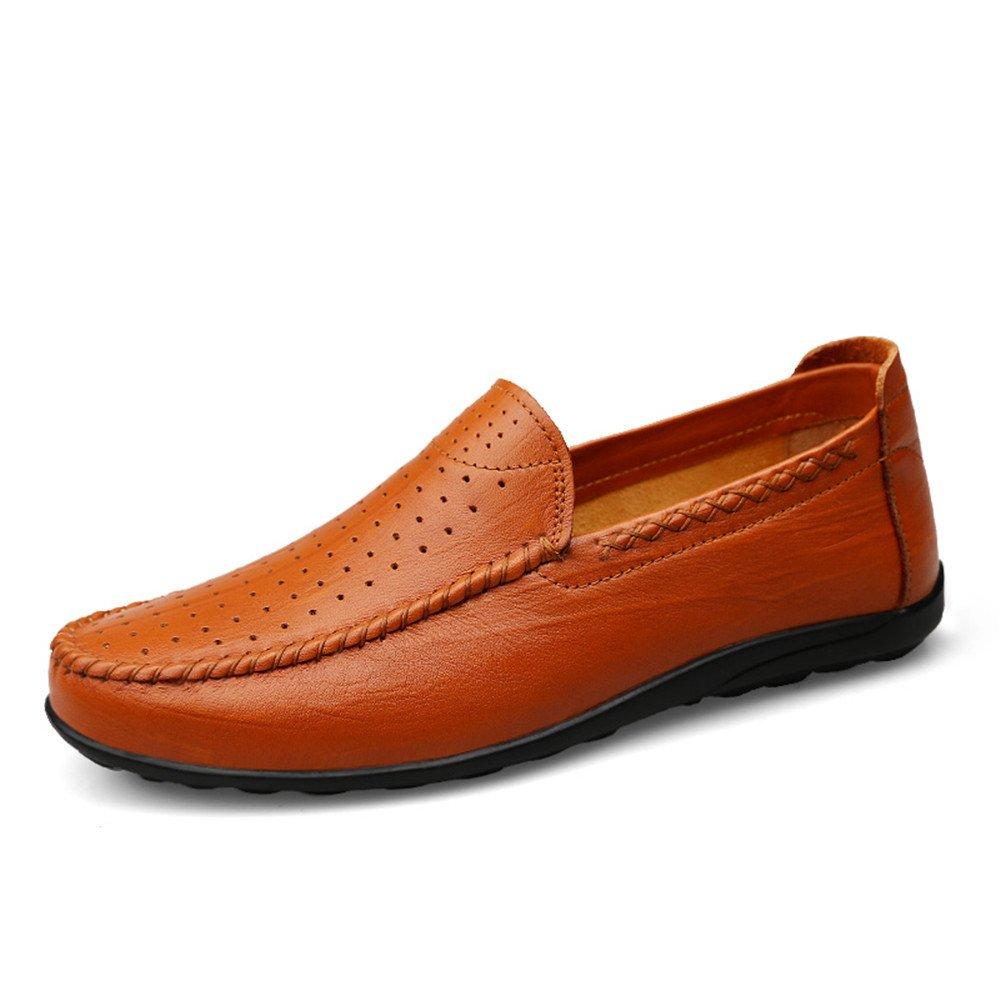 Mocasín de conducción de los Hombres Ocasionales y refrescantes Zapatos de Cuero Genuino con Suelas Blandas no Son Mocasines de Barco resbaladizo 41 EU|Hollow Reddish Brown