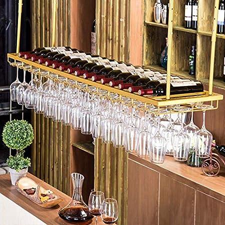 LJWJ Estante para Vinos, Bar, Restaurante, Colgante, Estante para Copas de Vino, Estante para Copas de Vino Dorado en el Techo Soporte para Botellas de Vino Colgante para Barra Invertida,Los 60 × 30C