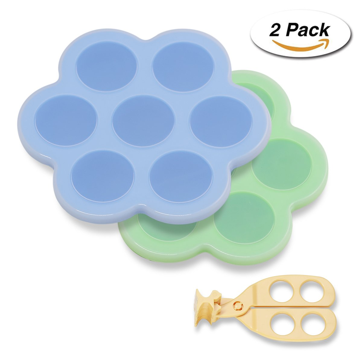 LAKatya Silicone Egg Bites Molds for Instant Pot Accessories - Fits Instant Pot 5,6,8 qt Pressure Cooker, Reusable Storage Container and Freezer Tray with Lid(Food cutter Included) (2, Blue and green)