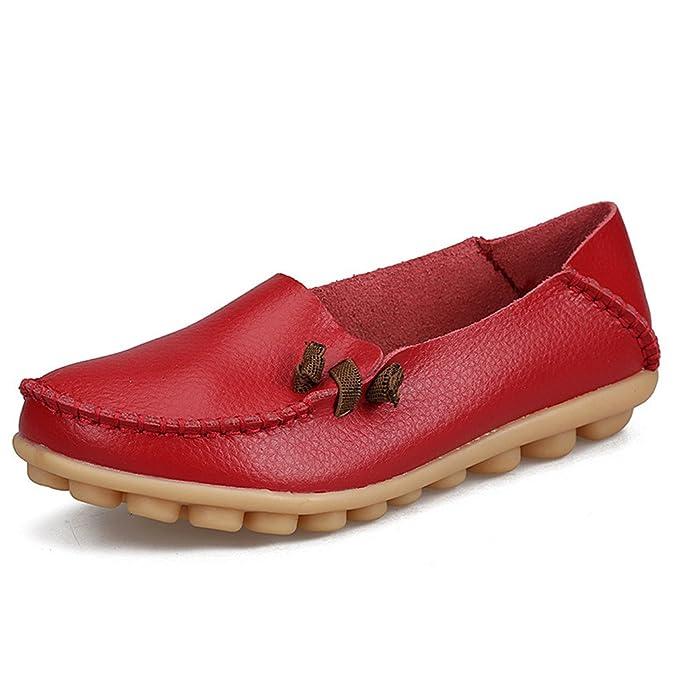 Zapatos de mujer de cuero genuino Mujer Pisos ocasionales Mocasines de la madre Calzado de conducción de mujeres Zapato de barco sólido Red 6: Amazon.es: ...