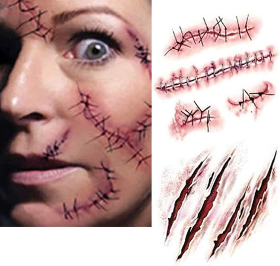 Halloween Costume Zombie Scars Tattoos 2 Pack Linkspe Costume Makeup Sticker