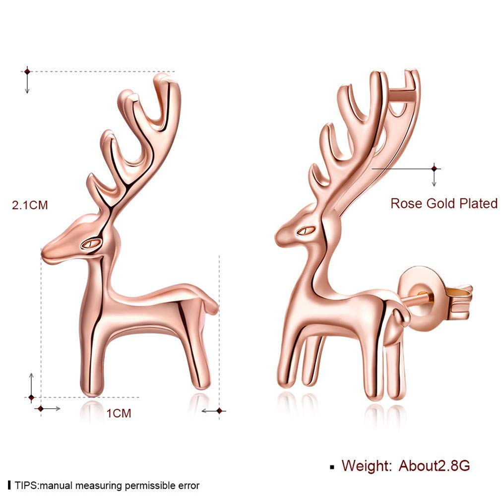 Golden Deer Santa Stud Earrings Christmas Valentines Day Gift For Women Girl