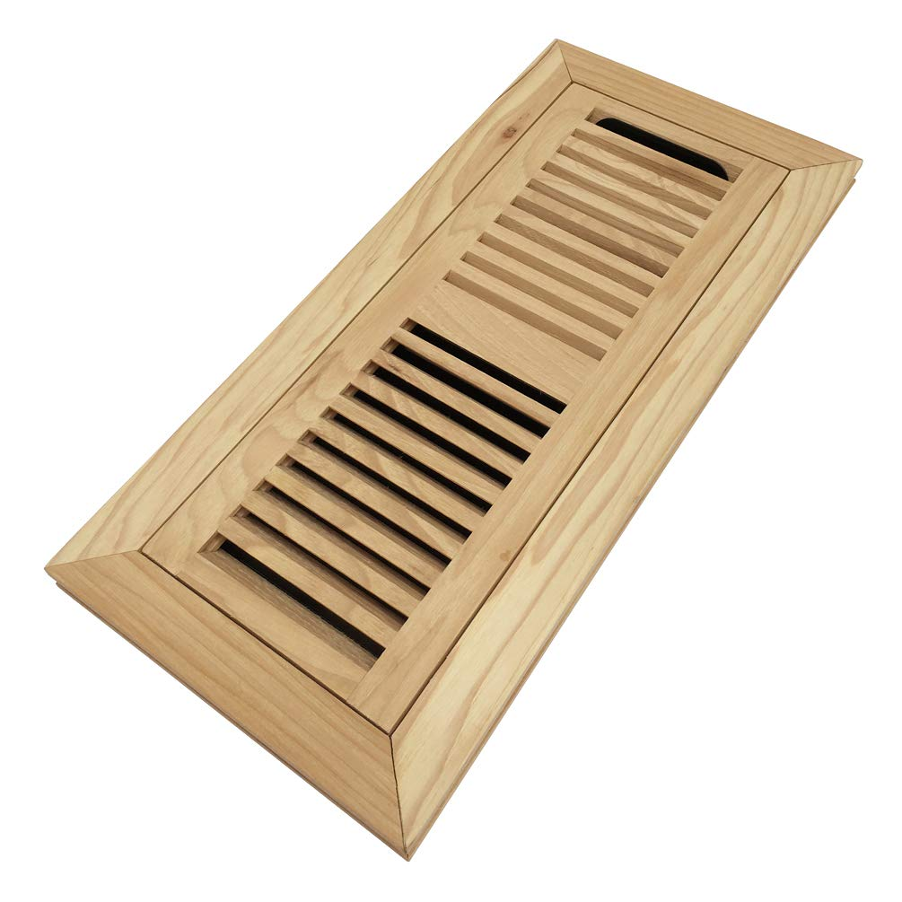 Homewell Hickory Wood Floor Register, Flush Mount Floor Vent Cover, 4X12 Inch, with Damper, Unfinished