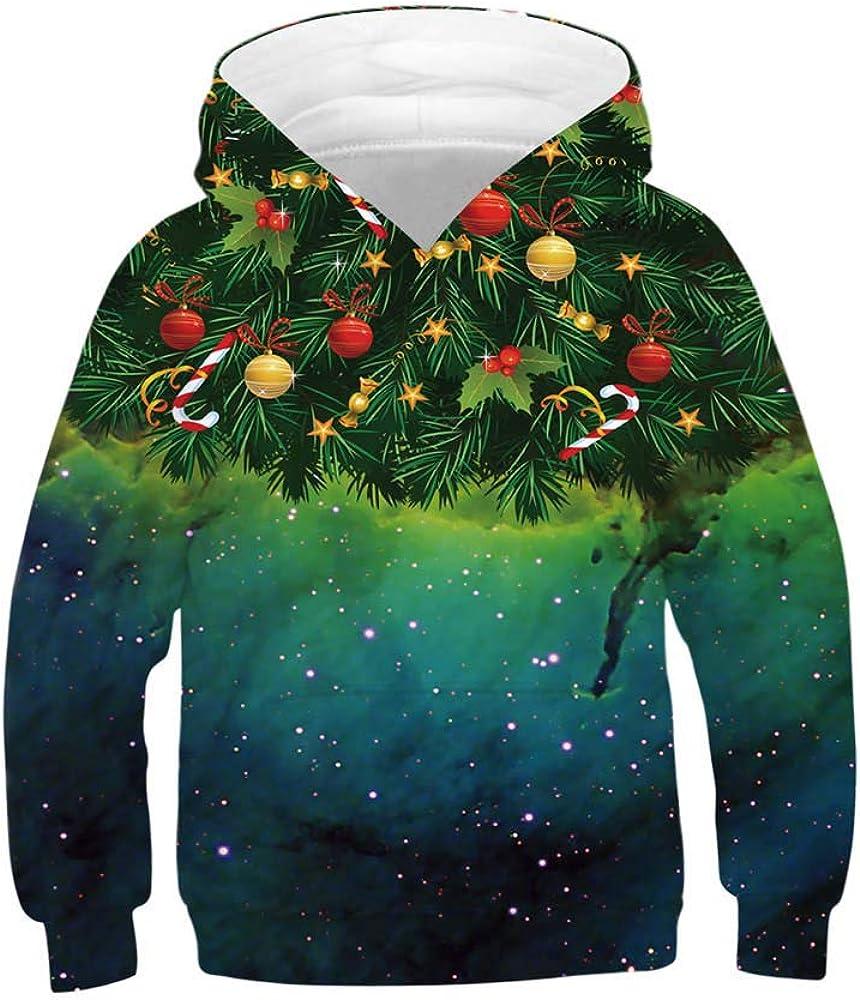 feiXIANG Felpe con Cappuccio Ragazzi Sweatshirt 3D Stampa Pullover Moda Felpa Bambini Hoodie Halloween Natale Bambine e Ragazze Cappotto Coulisse Tasche
