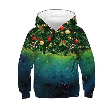 bc9fc1b478d Clearance!!4-11T Kids Boy Girls Christmas Santa Tree Print Hooded Pullover  Sweatshirt