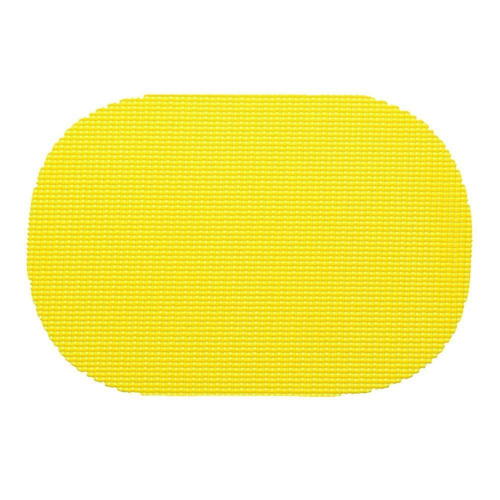 12 Piece Yellow Placemats,(Set of 12), Machine Washable, Solid Pattern, Oval Shape, Contemporary And Traditional Style, Perfect For Everyday Entertaining, Season Or Holiday Lace Material, Gold