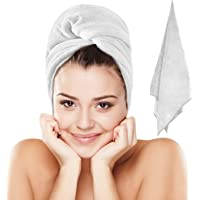 Luxe Beauty Essentials Microfiber Hair Towel For Drying Curly, Long & Thick Hair- Large- 20 x 40- White