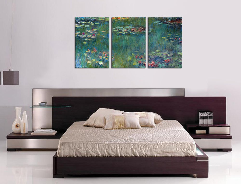 Amazon.com: Water Lilies By Claude Monet Oil Painting Canvas Prints Wall  Art Decor Framed Ready To Hang   3 Panel Large Size 30 By 60 Inch Modern  Giclee Art ...