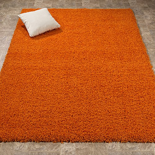 Lifestyle Shaggy Collection - Contemporary Solid Shag Area Rug (5'3