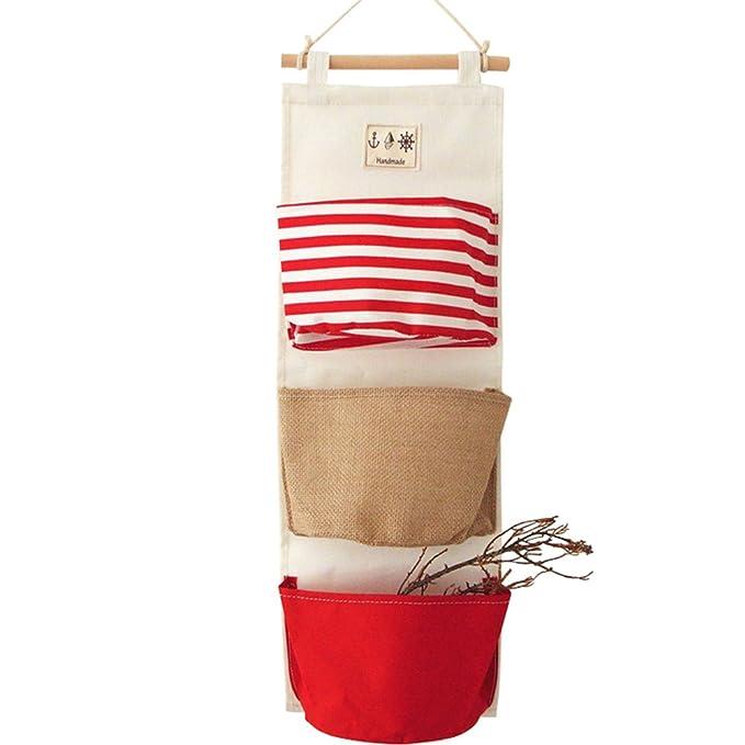 Fitlyiee 3 bolsillos para colgar bolsa de almacenamiento sobre la puerta armario de pared organizador: Amazon.es: Hogar