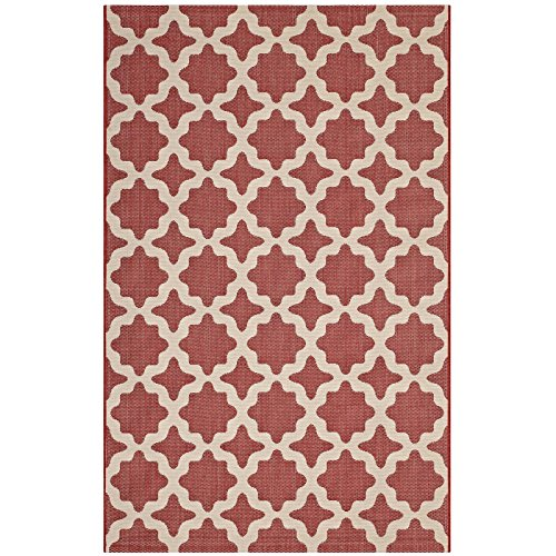 Modway R-1139E-58 Cerelia Swirl Abstract 8x10 Indoor and Outdoor Area Rug, 5X8, Red and Beige (Point Red Stars Five)