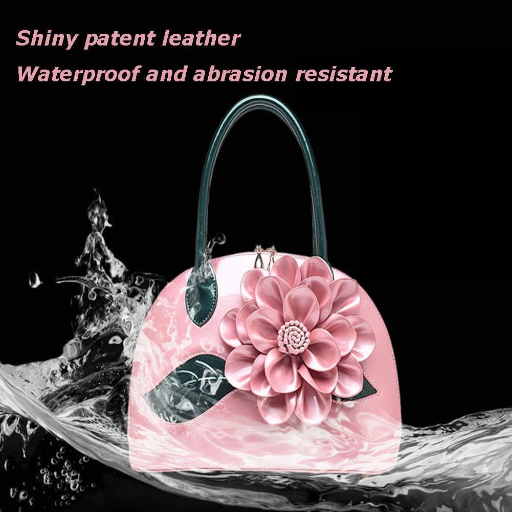 FFYUYI Lucido Patent-Leather Tote, Floreale Elegante intellettuale Signore Borsa a Tracolla,E F