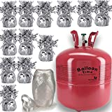 Helium Tank + 12 Balloon Weights, 5.5'', 5.7 oz + White Curling Ribbon |14.9 Cubic Feet Helium, Enough for 50 9'' Balloons