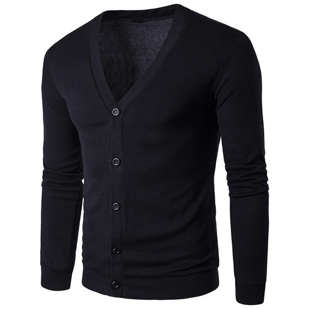 Han Shi Cardigan Coat, Men Fashion Autumn Winter Button V Neck Solid Knit Sweater Outwear (L, Black)